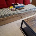 lit avec 2 tiroirs de rangement sur roulettes